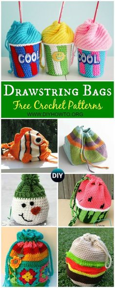 Collection of Crochet Drawstring Bags Free Patterns & DIY Tutorials: for kids and adults, drawstring shoulder bags, gift bags and pouches, drinks bags, dice.toy sacks and more via @diyhowto