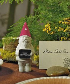 Miniature Gnome with Fuchsia Polka Dot Hat