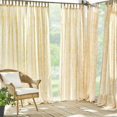 Verena Floral Indoor/Outdoor Sheer Tab Top Window Curtain Panel Large Window Curtains, Sheer Curtains Bedroom, Porch Curtains, Living Room Drapes, White Sheer Curtains, Outdoor Curtains, Boho Living Room, Window Panels, Teen Curtains