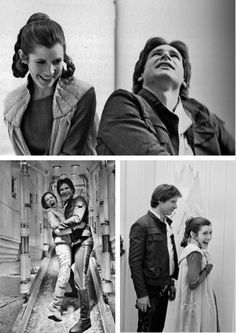 Carrie Fisher and Harrison Ford goofing off on set (Princess Leia & Han Solo, Empire Strikes Back)