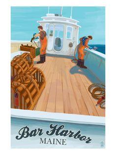 size: Art Print: York Beach, Maine - Lobster Boat Art Print by Lantern Press : Artists Winter Harbor Maine, Bar Harbor Maine, York Beach Maine, Lobster Art, Hampton Beach, Boat Art, Prince Edward Island, Travel Posters, Travel Ads
