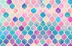 Rainbow Pastel Watercolor Moroccan Pattern - large fabric by micklyn on Spoonflower - custom fabric
