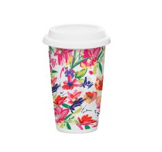 Ashley Brooke Designs Now your favorite florals come in a cute to-go form travel mug! - 10 ounces - durable, double-walled, ceramic cup & silicone lid for reuse - silicone sipping lid helps to lock in