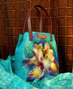 Купить Сумка валяная Приближение весны - морская волна, темно-биирюзовый, сумка, женская сумка