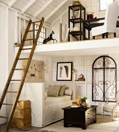 Pottery barn has great ideas for small spaces and lofts :-) Small Space Living, Living Spaces, Living Room, Tiny Living, White Wood Paneling, Barn Loft, Tiny Spaces, Little Houses, Tiny Houses