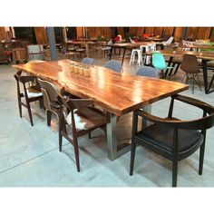Acacia Natural Wood Live Edge Table - Stainless Steel Square Legs – Wazo Furniture