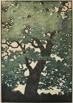 Original Hand Pulled Fine Art Print - Tree No. 22 Woodblock Print OOAK Moku Hanga Artist Proof