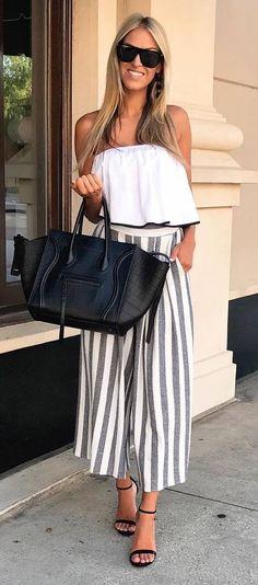 summer look   stripes + sleeveless top