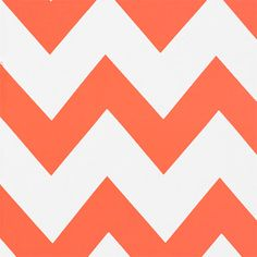 """Neon Orange White Big Chevron Peach Skin Fabric - A large scale white and neon orange chevron zig zag print peach skin fabric. Peach skin fabric has a soft brushed finish, does not wrinkle, and is perfect for dresses, tops, skirts, and more!  Chevron measures 10"""" for scale.  ::  $6.50"""