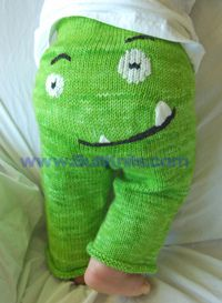 monster pants with a lopsided grin... she could have a pink tongue tip as well as the pointy teeth.  gummie_cart by dkmom, via Flickr