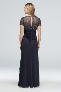 46525afd Beaded Illusion Short Sleeve Sheath Gown | David's Bridal Drape Gowns,  Davids Bridal, Illusions