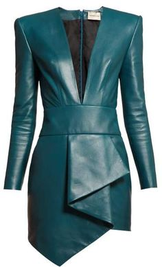 Kleidung Alexandre Vauthier Plunge Neckline Draped Leather Dress - Womens - Blue The Pearl Necklace Leather Mini Dress, Leather Dresses, Leather Jacket, Classy Outfits, Cute Outfits, Teal Outfits, Fashionable Outfits, Casual Chique, Look Blazer