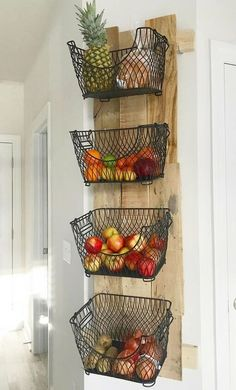 # diy # kitchen # storage # space # organization About How to Build a DIY Wall Mounted Fruit & Veggies Holder! Pin You can easily use my Diy Kitchen Storage, Home Decor Kitchen, Home Kitchens, Kitchen Interior, Kitchen Pantry Design, Wall Mounted Kitchen Storage, Ikea Hack Kitchen, Rustic Kitchen Decor, Kitchen Paint