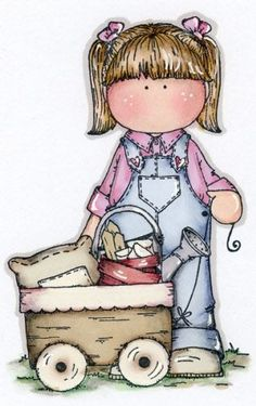 girl with wagon- Decoupage Cute Images, Cute Pictures, Meninos Country, Magnolia Colors, Decoupage, Cute Clipart, Country Paintings, Children Images, Copics