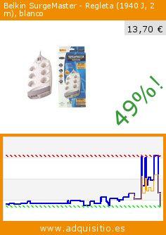 Belkin SurgeMaster - Regleta (1940 J, 2 m), blanco (Ordenadores personales). Baja 49%! Precio actual 13,70 €, el precio anterior fue de 26,97 €. http://www.adquisitio.es/fabricado-marca/belkin-surgemaster-s%C3%A9rie