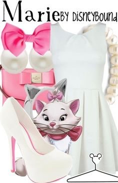 Disney Outfits Inspired By Your Favorite Characters Marie Disney Character Outfits, Disney Themed Outfits, Character Inspired Outfits, Disney Bound Outfits, Disney Dresses, Disney Clothes, Disney Characters Costumes, Cute Disney, Disney Style