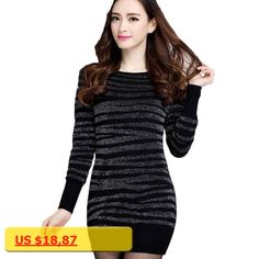 Sweaters Bodycon Dress Poncho Pullovers 2017 Winter Women Casual Vintage Paillette Striped Sweater Pull Femme Tunics S~3XXXL