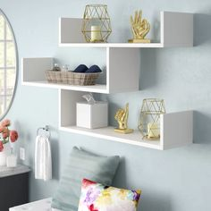 New Mckenny Modern Wall Shelf by Ivy Bronx kitchen dining furniture sale. Fashion is a popular style Corner Wall Shelves, Cube Shelves, Display Shelves, Shelving, Shelves On Wall, Unique Wall Shelves, Display Wall, White Shelves, Diy Regal