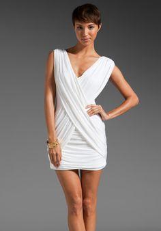 BCBGMAXAZRIA Draped Tank Dress in White