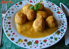 Fish meatballs with pumpkin puree and cheese