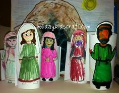 Christian Easter Craft. Printable Resurrection Scene using toilet tubes, empty tomb background and the women and disciples. PLUS Homemade Resurrection Eggs instructions