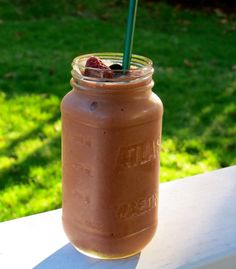 Chocolate Covered Strawberries Smoothie - I make something like this but use almond/ coconut milk, unsweetened cocoa powder, frozen strawberries, banana and greek yogurt.