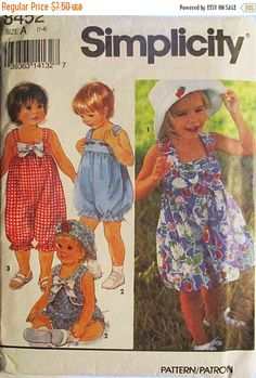 50% OFF SALE 1990s Childs Sewing Pattern Simplicity 8452 Toddlers Romper, Dress, Vest & Hat Pattern Size 1-4 Uncut by SewYesterdayPatterns on Etsy