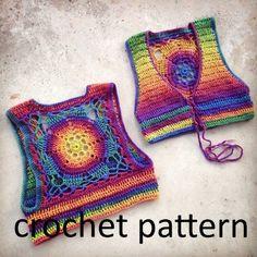 Crochet Pattern - Cropped Sleeveless Sweater Shrug Vest Lace Up Mandala Bohemian // Luna Mandala Vest PATTERN - Knitting Gilet Crochet, Crochet Vest Pattern, Crochet Mandala Pattern, Crochet Blouse, Crochet Bikini, Knitting Patterns, Crochet Patterns, Crochet Vests, Crochet Tops