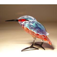 Glass Kingfisher - Blown glass kingfisher figurine