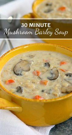 Healthy Soup Recipes, Vegetarian Recipes, Cooking Recipes, Burger Recipes, Fall Recipes, Mushroom Barley Soup, Vegetarian Barley Soup, Barley Food, Chicken Barley Soup