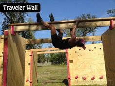 Traveler Obstacle Course Wall: 60 feet long, 16 feet at it's zenith: It incorporates horizontal and overhead hand holds, over 20 feet of bars to climb on and 15 feet of rope that one must traverse without touching the ground. Each participant rings five bells while traveling across this obstacle.