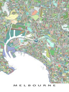 melbourne map print melbourne australia city art poster