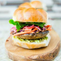 Portobello Burger with Spicy Slaw and Pickled Onions.