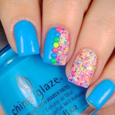 Embellish your nails with bling and confetti in delightful pops of fluorescent colors for a candy coated finish. Get started with this how and the nail art essentials found here.