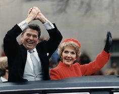 Ronald Reagan and Nancy Reagan waving from the presidential limousine during the Inaugural Parade in Washington, D. on Inauguration Day, Greatest Presidents, American Presidents, Us Presidents, American History, Nancy Reagan, 40th President, President Ronald Reagan, Presidential Inauguration, Presidential History