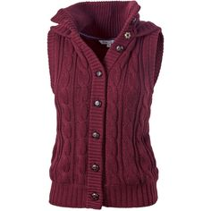 Amy Knitted Gilet ($58) ❤ liked on Polyvore featuring outerwear, vests, tops, jackets, sweaters, fat face, purple vest, vest waistcoat, cotton vest and button vest