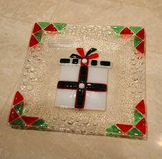 Christmas gift glass fused plate by YafitGlass by YafitGlass