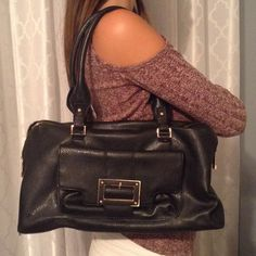 152b370f3f43 Liz Claiborne Black Purse Black Faux Leather Purse