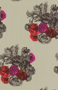 Peonie Wallpaper Bubbly bouquets of Peonie, originally adorning a 1940's silk scarf, recoloured in contemporary colours. Red, magenta and orange on neutral background.