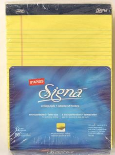 """Office 1200 STAPLES Signa Writing Note Pad  8.5"""" x 11.75"""" 24 x  50 Sheets 18138 #STAPLES"""
