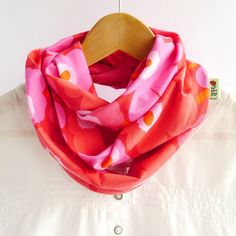 Infinity Scarf - Poppy Unikko Marimekko - Jersey - Red Pink Flowers on Etsy, $31.40