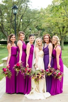 Jewel Tone Bridesmaids Dresses and Wedding Bouquets: Bold Sangria Wedding at the University Club from Jenna Hidinger Photography featured on Burgh Brides Purple Lace Bridesmaid Dresses, Wedding Bridesmaids, Wedding Dresses, Wedding Bouquets, Bridesmaid Gowns, Sangria Bridesmaid Dresses, Party Dresses, Wedding Flowers, Flower Girl Tutu