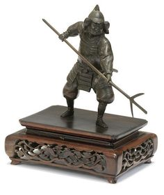 A bronze figure of a samurai warrior Meiji era (1868-1912)