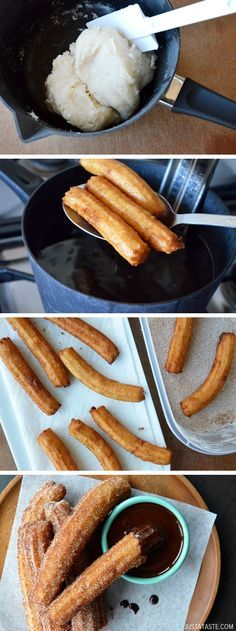 Easy Homemade Churros with Chocolate Sauce. I love love love churros Just Desserts, Delicious Desserts, Yummy Food, Tasty, Mexican Food Recipes, Sweet Recipes, Dessert Recipes, Mexican Cooking, Mexican Desserts