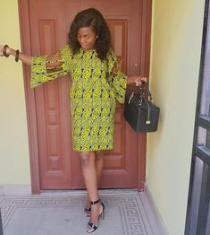 Image may contain: 1 person Ankara Short Gown, Short Gowns, Ankara Dress, Dress Skirt, African Wear Dresses, Sexy Dresses, African Print Fashion, Fashion Prints, New Outfits