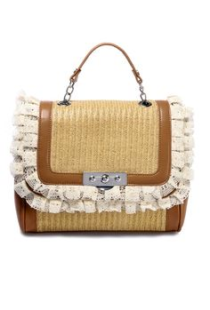 Vineyard Romance Woven Straw Lace Handbag | Sincerely Sweet Boutique