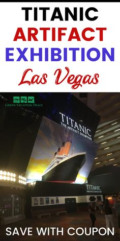 Coupon, promo code, discount price for Titanic Artifacts Exhibition at Luxor Resort & Casino on Las Vegas Strip. Recovered artifacts on display include luggage, the ship's whistle, a window frame from the Verandah Cafe & more. Also see a full-scale replication of the Grand Staircase (like in the James Cameron movie), room replicas & more. #Vegas #LasVegas #Titanic #Luxor #LasVegasStrip #BacktoVegas #vegasbaby #sincity #vegasvacation #vegasstrip #vegasbound #whathappensinvegas #travel #nevada Las Vegas Restaurants, Las Vegas Hotels, Las Vegas Vacation, Vacation Spots, Las Vegas Coupons, James Cameron Movies, Titanic Artifacts, Grand Staircase, Sin City