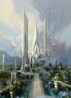Fantasy city by Paperblue Fantasy City, Fantasy Castle, Fantasy Kunst, Fantasy Places, Sci Fi Fantasy, Fantasy World, Futuristic City, Futuristic Architecture, Fantasy Concept Art