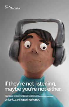 This super simple but super effective advertisement from the Ontario Ministry of Child and Youth Services is a good example of 'less is more.' Using a cute character design, Idea Studio in Canada makes sure the message gets across.