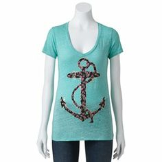 Khol's Fifth Sun Floral Anchor Tee - Juniors (size M)